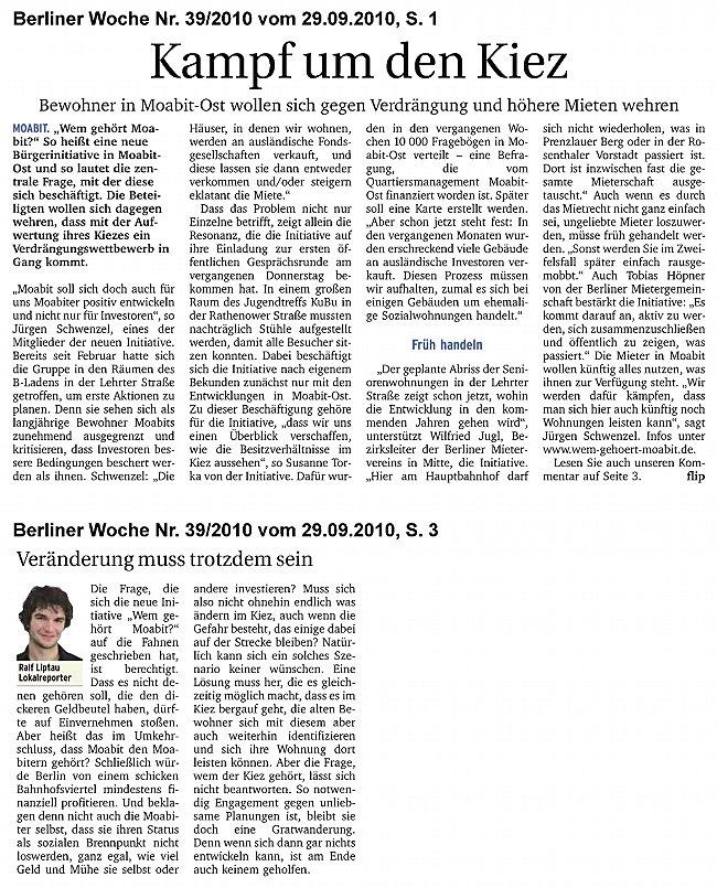 Artikel und Kommentar von Ralf Liptau in der Berliner Woche, mit freundlicher Genehmigung des Autors