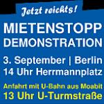 Unterstützt die Demo: Jetzt reicht's! Gegen Mieterhöhung